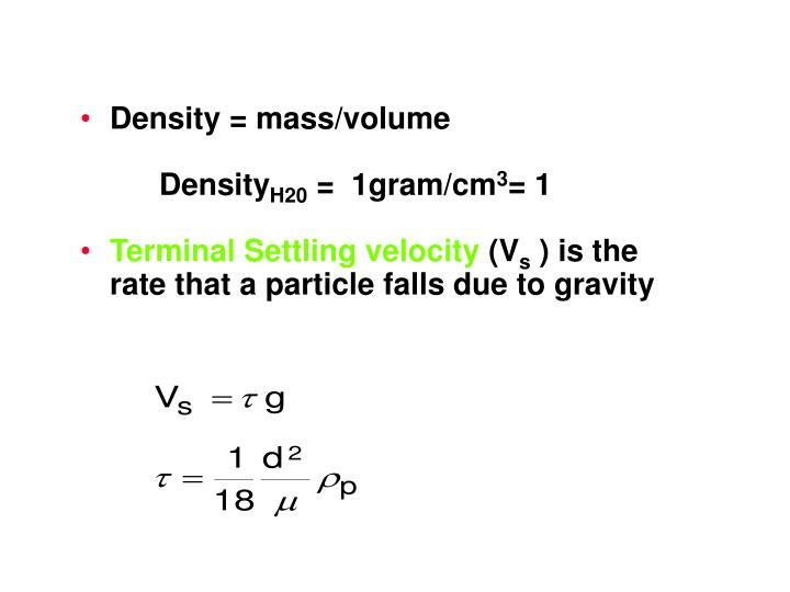Density = mass/volume