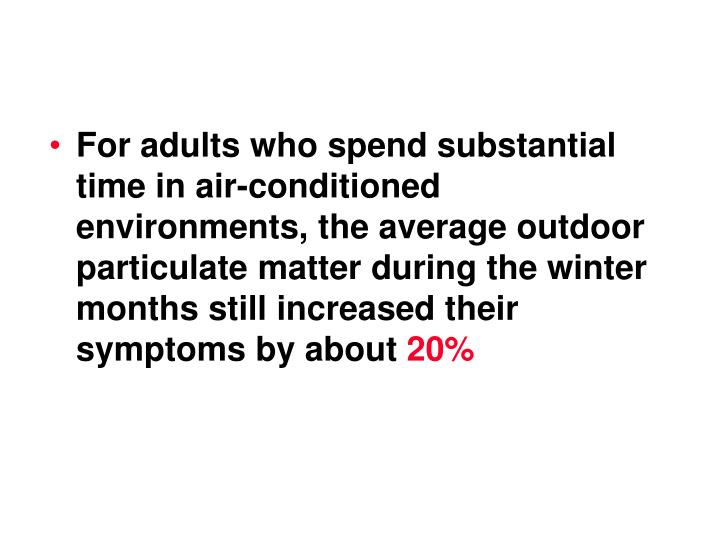For adults who spend substantial time in air-conditioned environments, the average outdoor particulate matter during the winter months still increased their symptoms by about