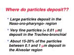 where do particles deposit