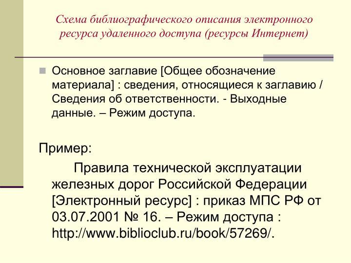 Схема библиографического описания электронного ресурса удаленного доступа (ресурсы Интернет)