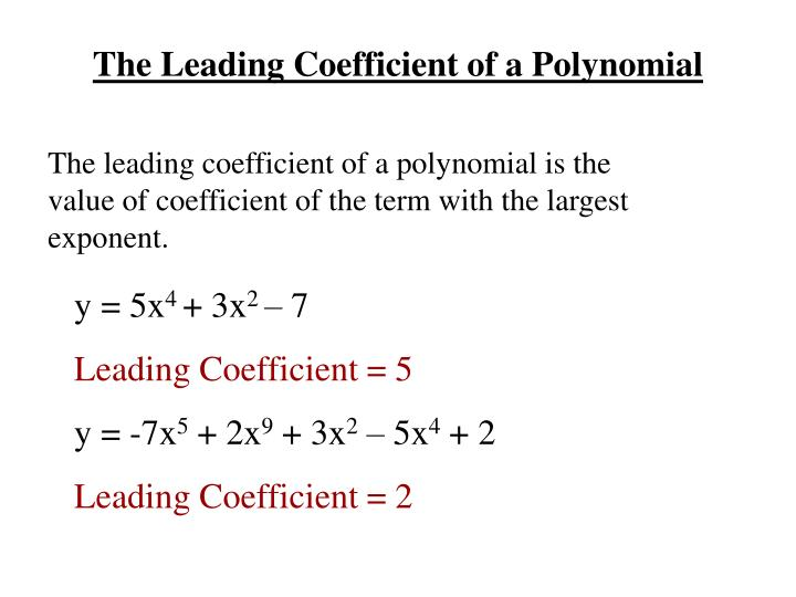 The Leading Coefficient of a Polynomial
