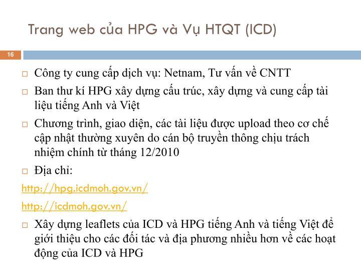 Trang web của HPG và Vụ HTQT (ICD)