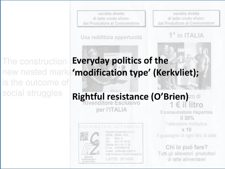 Everyday politics of the 'modification type' (Kerkvliet);