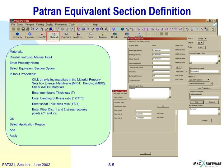 Patran Equivalent Section Definition