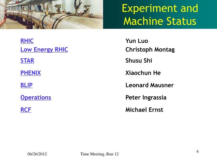 Experiment and Machine Status