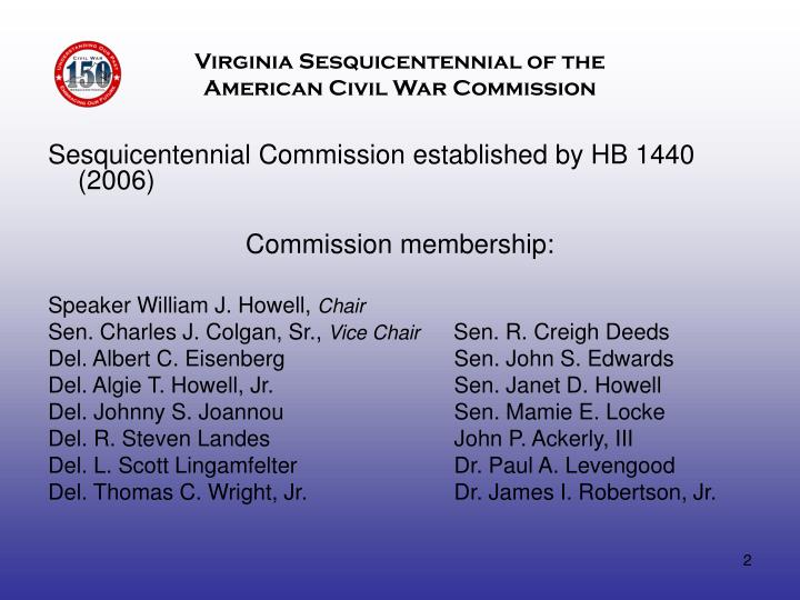 Virginia sesquicentennial of the american civil war commission1