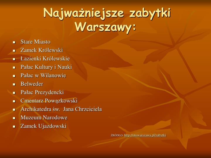 Najważniejsze zabytki Warszawy: