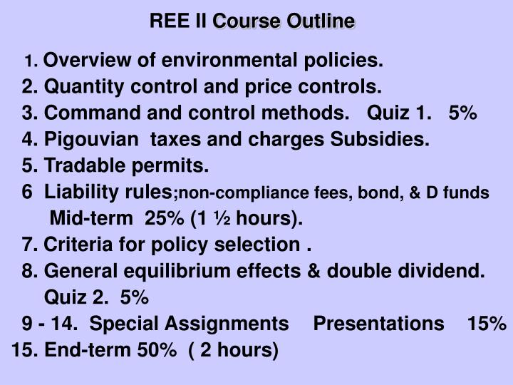 Ree ii course outline