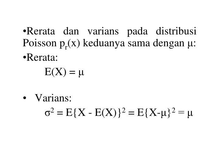 Rerata dan varians pada distribusi Poisson p