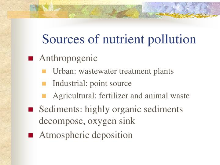 Sources of nutrient pollution