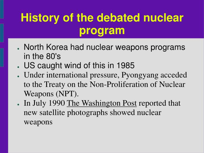 History of the debated nuclear program
