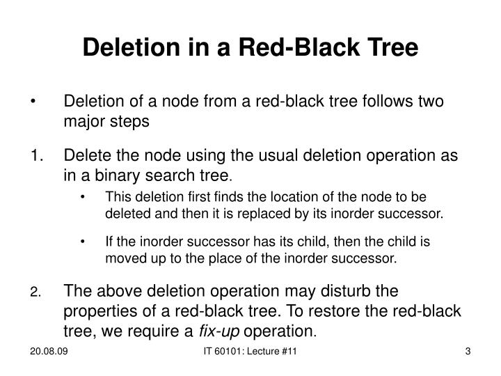 Deletion in a red black tree