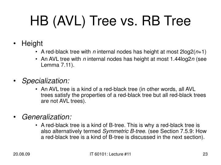HB (AVL) Tree vs. RB Tree