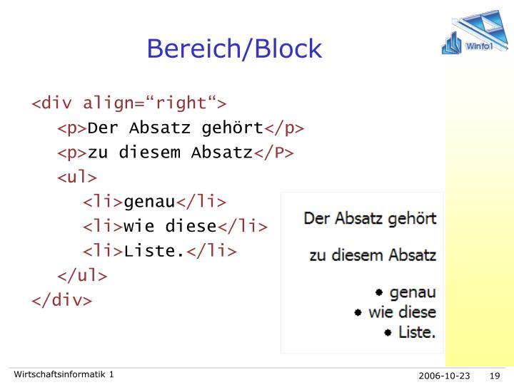 Bereich/Block