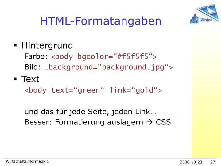 HTML-Formatangaben