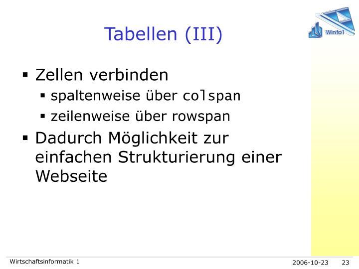 Tabellen (III)
