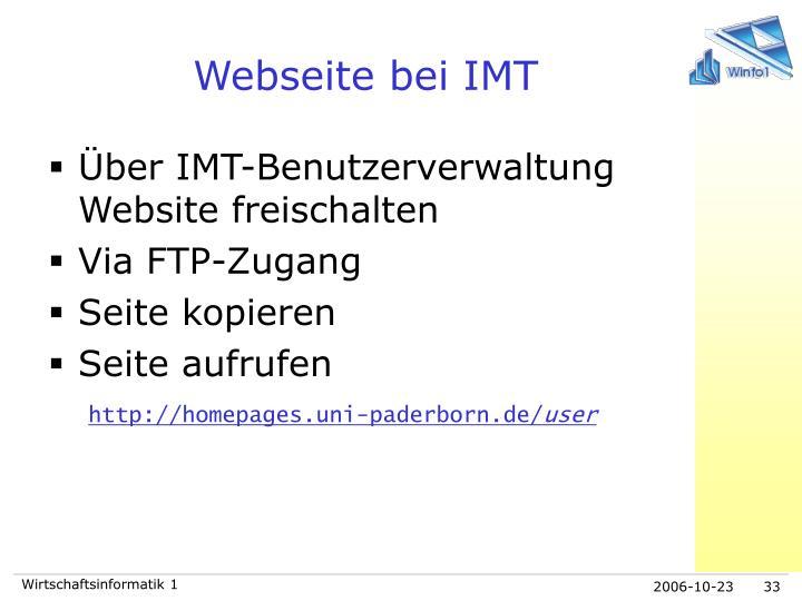 Webseite bei IMT