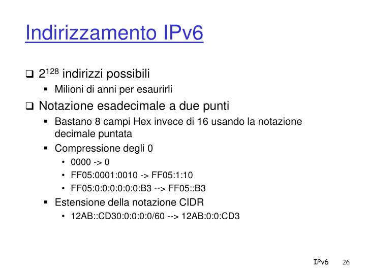 Indirizzamento IPv6