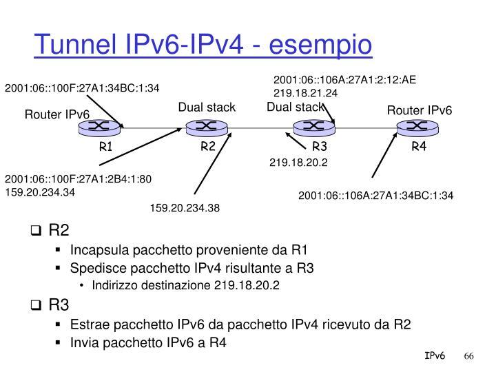 Tunnel IPv6-IPv4 - esempio