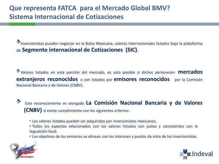 Que representa FATCA  para el Mercado Global BMV?