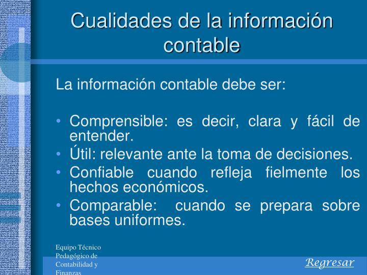 Cualidades de la información contable