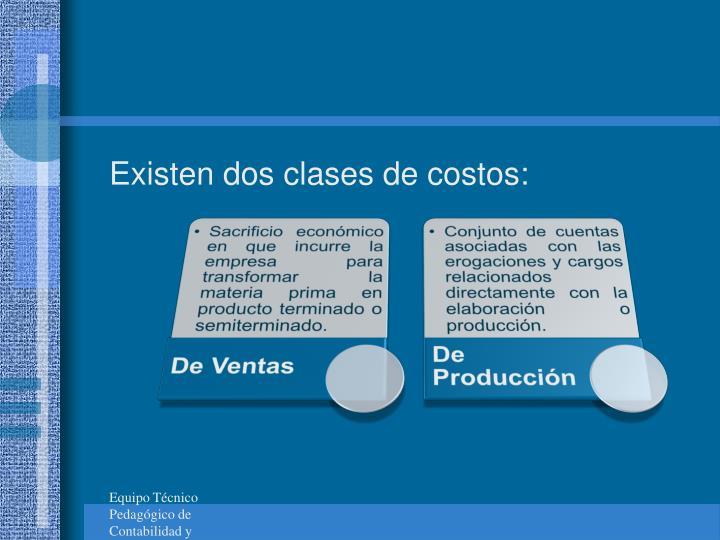 Existen dos clases de costos:
