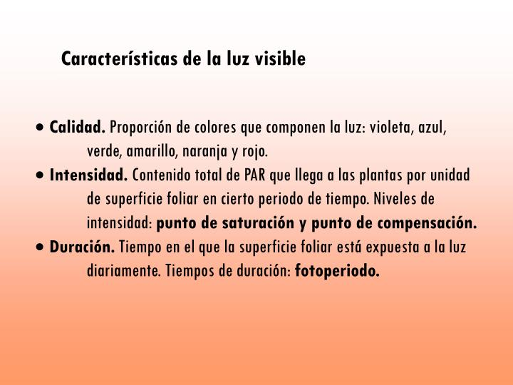 Características de la luz visible