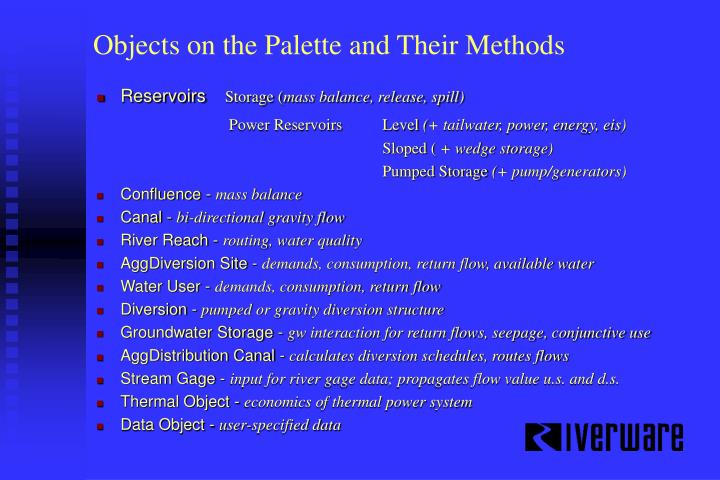 Objects on the Palette and Their Methods