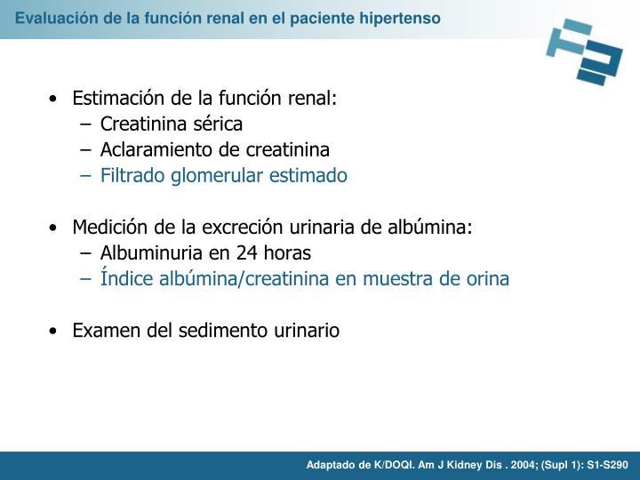 Evaluación de la función renal en el paciente hipertenso