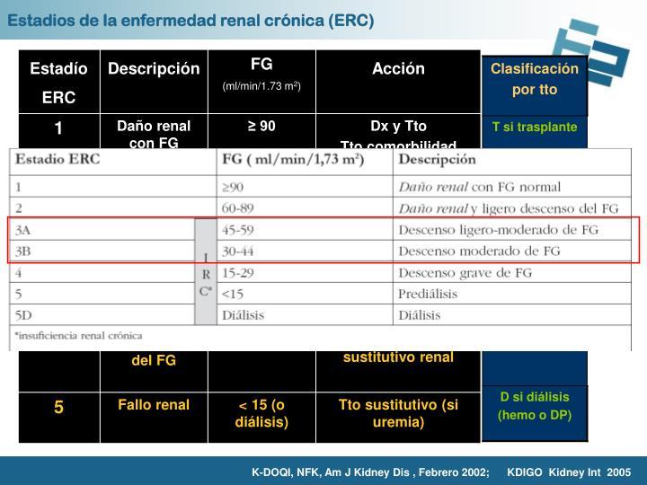 Estadios de la enfermedad renal crónica (ERC)