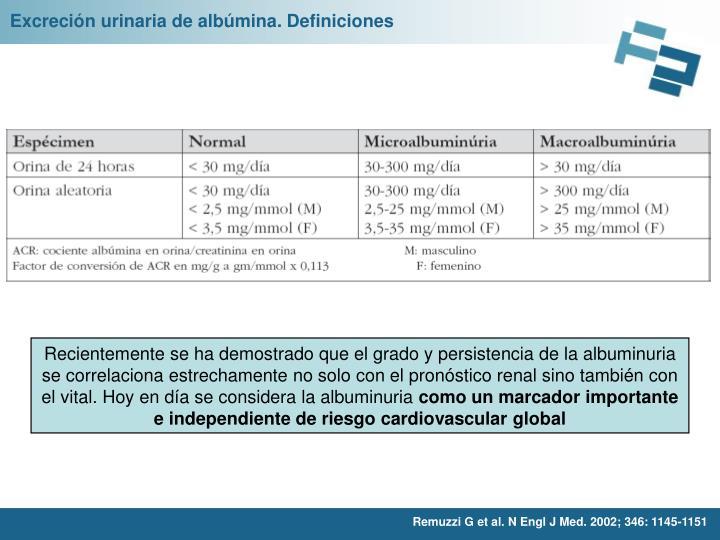 Excreción urinaria de albúmina. Definiciones