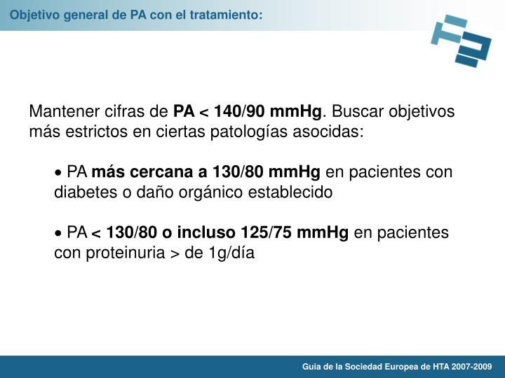 Objetivo general de PA con el tratamiento:
