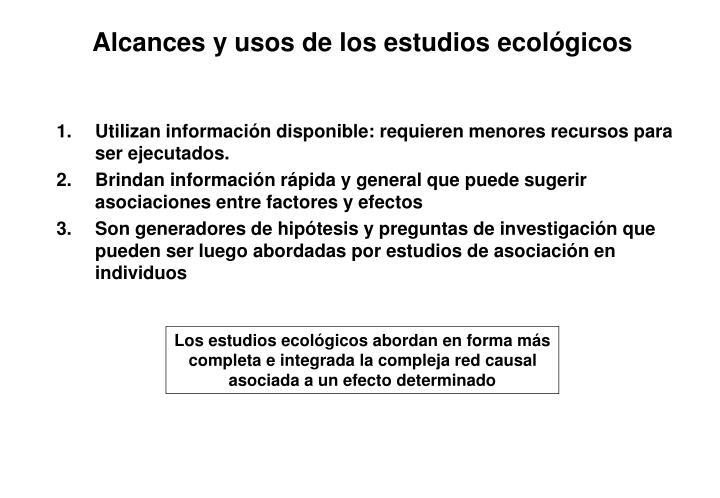 Alcances y usos de los estudios ecológicos