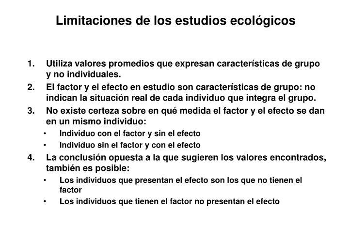 Limitaciones de los estudios ecológicos