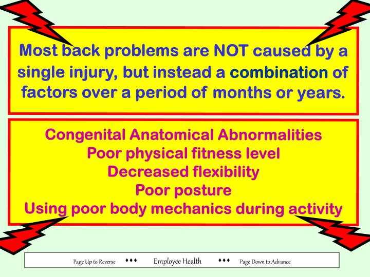 Most back problems are NOT caused by a single injury,