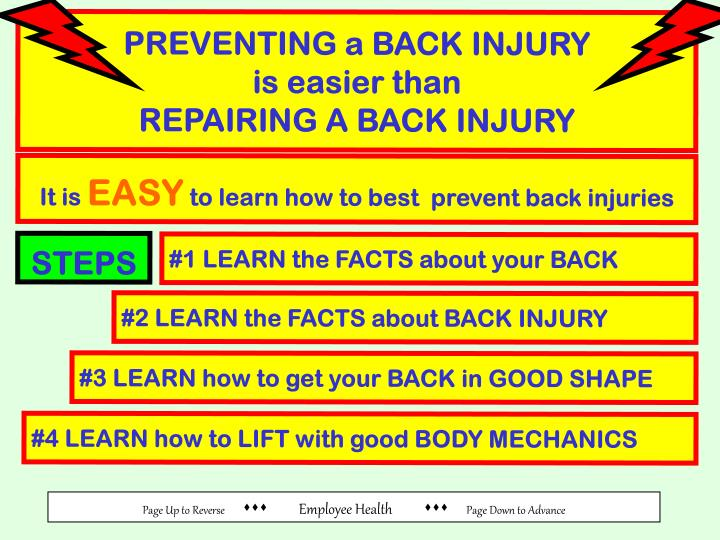 PREVENTING a BACK INJURY