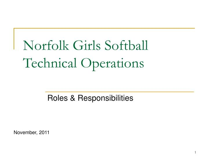 Norfolk girls softball technical operations