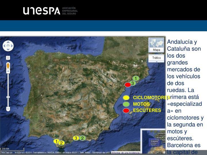 Andalucía y  Cataluña son los dos grandes mercados de los vehículos de dos ruedas. La primera está «especializada» en ciclomotores y la segunda en motos y escúteres. Barcelona es la capital de España del escúter.