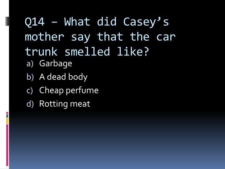 Q14 – What did Casey's mother say that the car trunk smelled like?