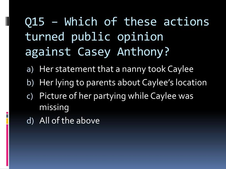 Q15 – Which of these actions turned public opinion against Casey Anthony?