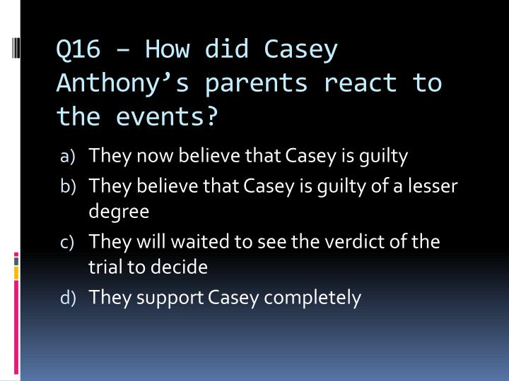 Q16 – How did Casey Anthony's parents react to the events?