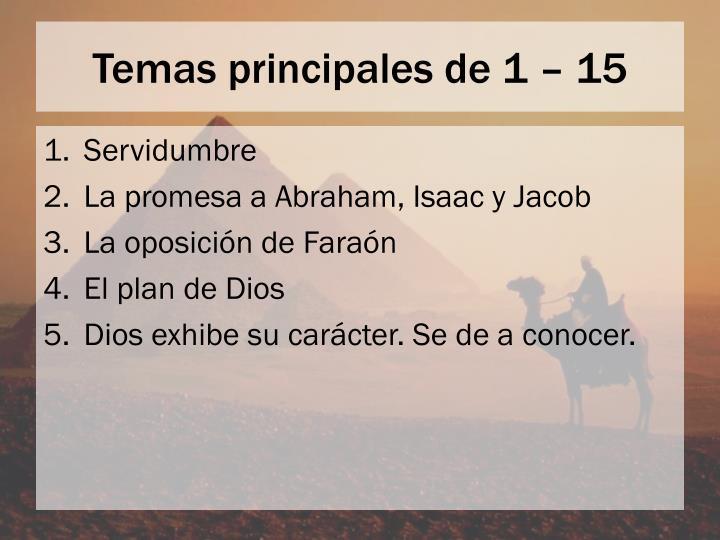 Temas principales de 1 – 15