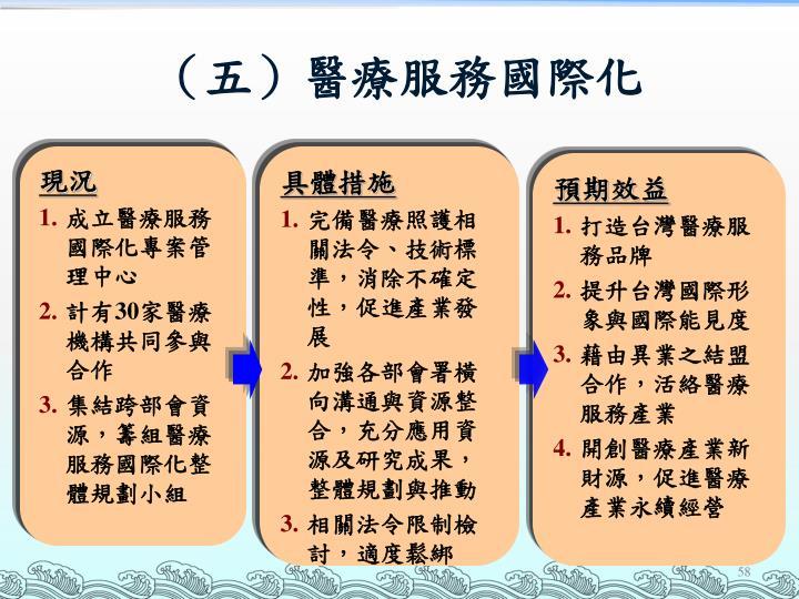 (五)醫療服務國際化