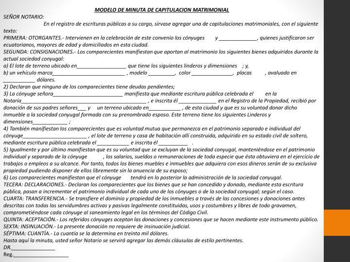 MODELO DE MINUTA DE CAPITULACION MATRIMONIAL