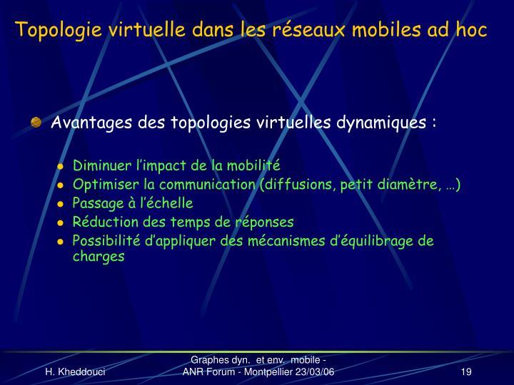 Topologie virtuelle dans les réseaux mobiles ad hoc