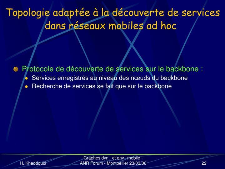 Topologie adaptée à la découverte de services