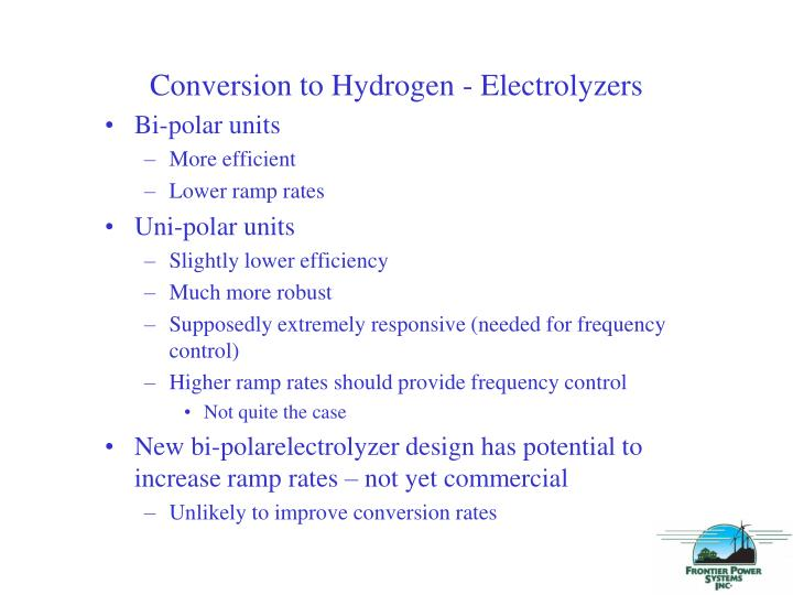 Conversion to Hydrogen - Electrolyzers