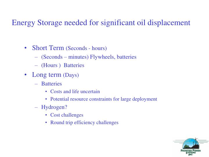 Energy Storage needed for significant oil displacement