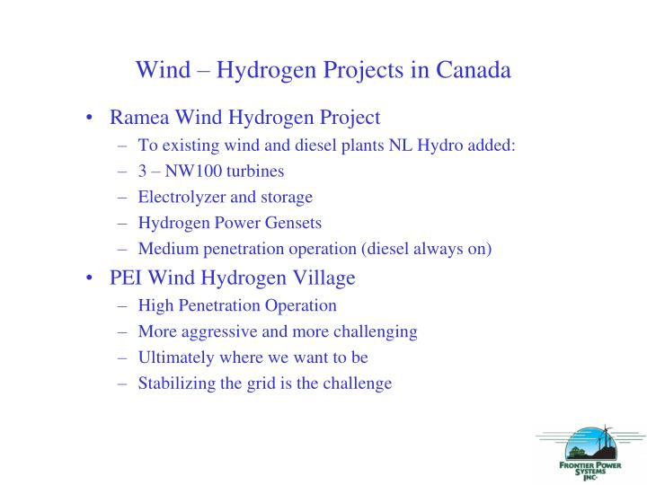 Wind – Hydrogen Projects in Canada