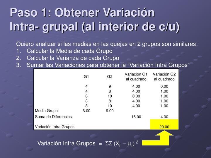 Paso 1: Obtener Variación Intra- grupal (al interior de c/u)